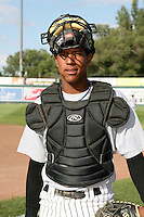 August 11, 2009: Salvador Perez of the Idaho Falls Chukars. The Chukars are the Pioneer League affiliate for the Kansas City Royals. Photo by: Chris Proctor/Four Seam Images