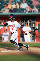 Samad Taylor (1) of the Lansing Lugnuts follows through on his swing against the South Bend Cubs at Cooley Law School Stadium on June 15, 2018 in Lansing, Michigan. The Lugnuts defeated the Cubs 6-4.  (Brian Westerholt/Four Seam Images)