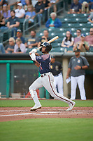 Nick Heath (14) of the Reno Aces at bat against the Salt Lake Bees at Smith's Ballpark on August 24, 2021 in Salt Lake City, Utah. The Aces defeated the Bees 6-5. (Stephen Smith/Four Seam Images)