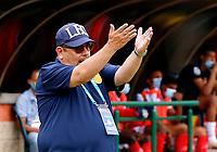 ITAGÜI - COLOMBIA, 22-02-2021: Itagüi Leones F. C. y Barranquilla F. C. durante partido de la fecha 7 por el Torneo BetPlay DIMAYOR 2021 en el estadio Metropolitano de Itagüi de la ciudad de Itagüi. / Itagüi Leones F. C. and Barranquilla F. C.  during a match of the 7th for the BetPlay DIMAYOR 2021 Tournament at the Metropolitano de Itagüi stadium in Itagüi city. Photo: VizzorImage / Donaldo Zuluaga  / Cont.