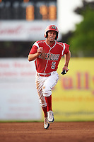 Batavia Muckdogs Aaron Knapp (5) running the bases during a game against the Brooklyn Cyclones on July 6, 2016 at Dwyer Stadium in Batavia, New York.  Batavia defeated Brooklyn 15-2.  (Mike Janes/Four Seam Images)