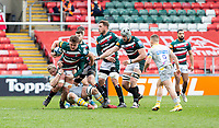 20th February 2021; Welford Road Stadium, Leicester, Midlands, England; Premiership Rugby, Leicester Tigers versus Wasps; Jasper Wiese of Leicester Tigers tackled by Ben Morris of Wasps