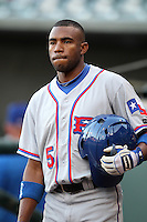 Round Rock Express outfielder Endy Chavez #5 on deck during a game versus the Memphis Redbirds at Autozone Park on April 28, 2011 in Memphis, Tennessee.  Memphis defeated Round Rock by the score of 6-5 in ten innings.  Photo By Mike Janes/Four Seam Images