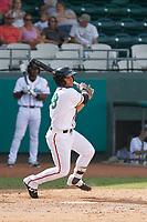 Down East Wood Ducks shortstop Arturo Lara (18) at bat during a game against the Salem Red Sox at Grainger Stadium on April 16, 2017 in Kinston, North Carolina. Salem defeated Down East 9-2. (Robert Gurganus/Four Seam Images)