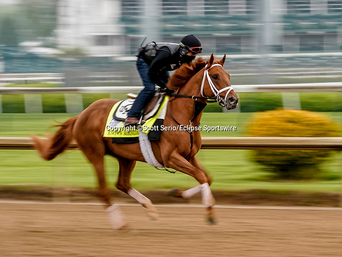 April 25, 2021: Known Agenda, trained by trainer Todd Pletcher, exercises in preparation for the Kentucky Derby at Churchill Downs on April 25, 2021 in Louisville, Kentucky. Scott Serio/Eclipse Sportswire/CSM