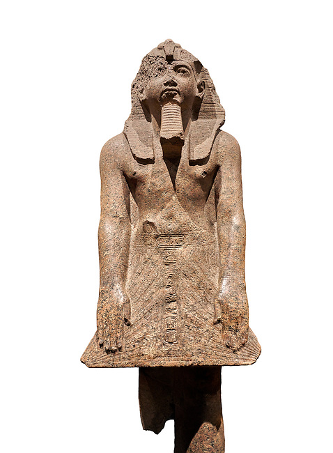 Ancient Egyptian statue of Ramesses II , granite, New Kingdom, 18th Dynasty, (1500-1400 BC, Karnak, Temple of Mut. Egyptian Museum, Turin. white background.<br /> <br /> The statue depicting Ramesses II  was reworked over a statue of an earlier pharaoh. This can be seen around the corners of the mouth which show reworking. The roundness of the face and short apron also point to an earlier style.  Ramesses II is depicted praying with his arms out straight and his hands resting flat on the apron of his kilt.