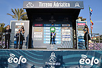 Vincenzo Albanese (ITA) Eolo-Kometa Cycling Team wears the first mountains Maglia Verde at the end of Stage 1 of Tirreno-Adriatico Eolo 2021, running 156km from Lido di Camaiore to Lido di Camaiore, Italy. 10th March 2021. <br /> Photo: LaPresse/Gian Mattia D'Alberto   Cyclefile<br /> <br /> All photos usage must carry mandatory copyright credit (© Cyclefile   LaPresse/Gian Mattia D'Alberto)