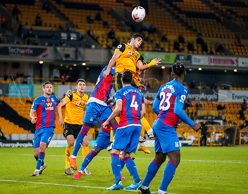 30th October 2020; Molineux Stadium, Wolverhampton, West Midlands, England; English Premier League Football, Wolverhampton Wanderers versus Crystal Palace; Raúl Jiménez of Wolverhampton Wanderers jumps high but cannot connect with the header