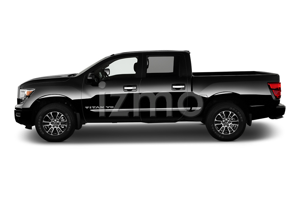 Car Driver side profile view of a 2020 Nissan Titan SV 4 Door Pick-up Side View