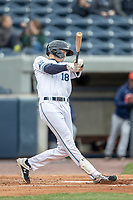West Michigan Whitecaps outfielder Parker Meadows (18) swings the bat against the Bowling Green Hot Rods on May 21, 2019 at Fifth Third Ballpark in Grand Rapids, Michigan. The Whitecaps defeated the Hot Rods 4-3.  (Andrew Woolley/Four Seam Images)