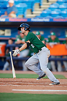 Daytona Tortugas third baseman Brantley Bell (24) follows through on a swing during a game against the St. Lucie Mets on August 3, 2018 at First Data Field in Port St. Lucie, Florida.  Daytona defeated St. Lucie 3-2.  (Mike Janes/Four Seam Images)