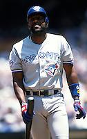 Joe Carter of the Toronto Blue Jays at Anaheim Stadium in Anaheim,California during the 1996 season. (Larry Goren/Four Seam Images)