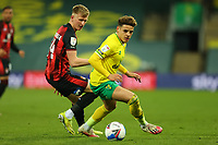 17th April 2021; Carrow Road, Norwich, Norfolk, England, English Football League Championship Football, Norwich versus Bournemouth; Max Aaron of Norwich City is under pressure from Sam Surridge of Bournemouth