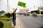 Slovenian fans at the start of Stage 5 of the 2021 UAE Tour running 170km from Fujairah to Jebel Jais, Fujairah, UAE. 25th February 2021.  <br /> Picture: Eoin Clarke   Cyclefile<br /> <br /> All photos usage must carry mandatory copyright credit (© Cyclefile   Eoin Clarke)