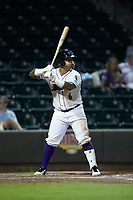 Yermin Mercedes (6) of the Winston-Salem Dash at bat against the Myrtle Beach Pelicans at BB&T Ballpark on August 6, 2018 in Winston-Salem, North Carolina. The Dash defeated the Pelicans 6-3. (Brian Westerholt/Four Seam Images)