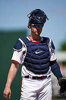 Minnesota Twins catcher Mitch Garver (8) during a Major League Spring Training game against the Pittsburgh Pirates on March 16, 2021 at Hammond Stadium in Fort Myers, Florida.  (Mike Janes/Four Seam Images)