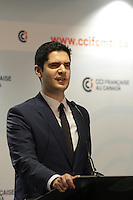 Harout Chitilian adress the Chambre de Commerce et d'industrie Francaise au Canada, March 22,2016.<br /> <br /> <br /> <br /> Photo : Pierre Roussel - Agence Quebec Presse