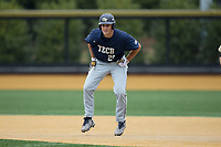 Kel Johnson (25) of the Georgia Tech Yellow Jackets takes his lead off of first base against the Wake Forest Demon Deacons at David F. Couch Ballpark on March 26, 2017 in  Winston-Salem, North Carolina.  The Demon Deacons defeated the Yellow Jackets 8-4.  (Brian Westerholt/Four Seam Images)