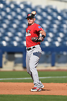 Frisco Rough Riders third baseman Ryan Rua (9) throws to first during the first game of a doubleheader against the Tulsa Drillers on May 29, 2014 at ONEOK Field in Tulsa, Oklahoma.  Frisco defeated Tulsa 13-4.  (Mike Janes/Four Seam Images)