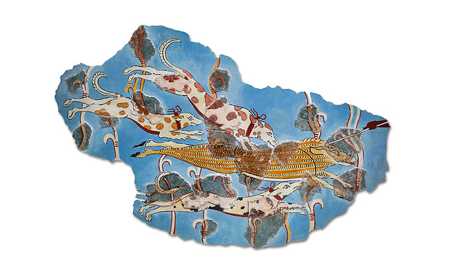 Mycenaean Fresco wall painting of a Wild Boar Hunt from the Tiryns, Greece. 14th - 13th Century BC. Athens Archaeological Museum. White Background.