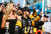 2017 Verizon IndyCar Series<br /> Toyota Grand Prix of Long Beach<br /> Streets of Long Beach, CA USA<br /> Sunday 9 April 2017<br /> James Hinchcliffe celebrates on the podium<br /> World Copyright: Phillip Abbott/LAT Images<br /> ref: Digital Image lat_abbott_lbgp_0417_15136