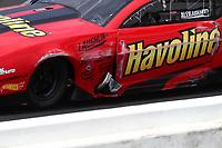 Jun 9, 2019; Topeka, KS, USA; Detailed view of damage to the car of NHRA pro mod driver Alex Laughlin after hitting the wall during the Heartland Nationals at Heartland Motorsports Park. Mandatory Credit: Mark J. Rebilas-USA TODAY Sports
