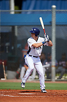 GCL Rays designated hitter Joe McCarthy (15) at bat during a game against the GCL Twins on August 9, 2018 at Charlotte Sports Park in Port Charlotte, Florida.  GCL Twins defeated GCL Rays 5-2.  (Mike Janes/Four Seam Images)