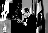 June 5, 1985 File Photo - Charles Bronfman,owner of the Montreal Expos<br />  speak at the Queen Elizabeth Hotel