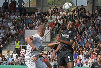 Sebastien Hr (Eintracht Frankfurt #9) klaert per Kopf, SSV Ulm 1846 - Eintracht Frankfurt, Football, DFB-Pokal,round 1, 18.08.2018<br />DFB RULES PROHIBIT USE IN MMS SERVICES VIA HANDHELD DEVICES UNTIL TWO HOURS AFTER A MATCH AND ANY USAGE ON INTERNET OR ONLINE MEDIA SIMULATING VIDEO FOOdayE DURING THE MATCH. *** Local Caption *** © pixathlon<br /> Contact: +49-40-22 63 02 60 , info@pixathlon.de