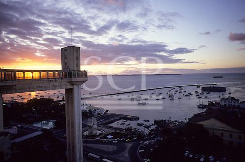 Salvador, Bahia State, Brazil. The Lacerda elevator at sunset.