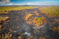 An aerial view of the lava flow in Pahoa, Big Island; it started on June 27, 2014. This image was taken in October 2014.
