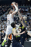 Real Madrid's Rudy Fernandez (l) and Fenerbahce Istambul's Pero Antic during Euroleague Quarter-Finals 3rd match. April 19,2016. (ALTERPHOTOS/Acero)