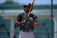 Pittsburgh Pirates Jonah Davis (27) bats during a Minor League Spring Training game against the Baltimore Orioles on April 21, 2021 at Pirate City in Bradenton, Florida.  (Mike Janes/Four Seam Images)