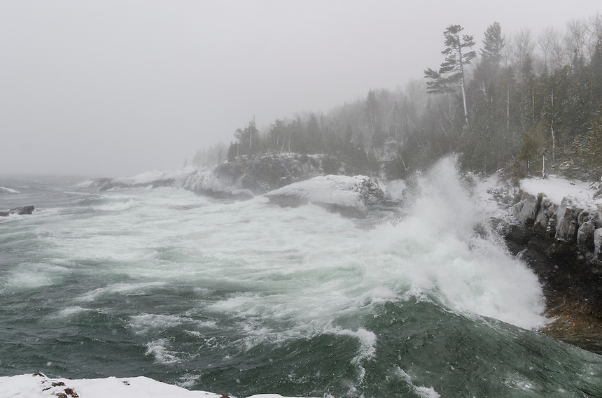 A violent Lake Superior on a cold and snowy day as an arctic blast moved into the area. Black Rocks at Presque Isle Park, Marquette, MI