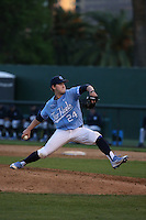 Hansen Butler (24) of the North Carolina Tar Heels pitches against the UCLA Bruins at Jackie Robinson Stadium on February 20, 2016 in Los Angeles, California. UCLA defeated North Carolina, 6-5. (Larry Goren/Four Seam Images)