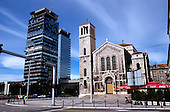 Sarajevo, Bosnia. Catholic church with modern office buildings.