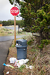 Thoughtless people have dumped their trash on the Discovery Trail, a wonderfully scenic, handicapped accessible trail along the Long Beach Penninsula in Washington State.  In this trash are fresh fruits and vegetables! Olympic Peninsula