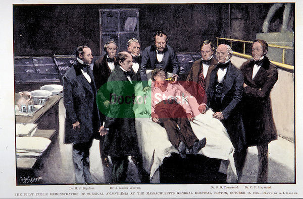 First public demonstration of surgical anesthesia, 1846, Massachusetts General Hospital, Boston