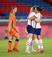 YOKOHAMA, JAPAN - JULY 30: Samantha Mewis #3 of the USWNT celebrates her goal with Carli Lloyd #10 during a game between Netherlands and USWNT at International Stadium Yokohama on July 30, 2021 in Yokohama, Japan.