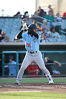 Jahmai Jones (19) of the Inland Empire 66ers bats against the Lancaster JetHawks at The Hanger on September 3, 2017 in Lancaster, California. Lancaster defeated Inland Empire, 5-4. (Larry Goren/Four Seam Images)