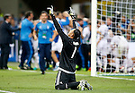 Real Madrid's Keylor Navas celebrates the victory in the UEFA Champions League 2015/2016 Final match.May 28,2016. (ALTERPHOTOS/Acero)