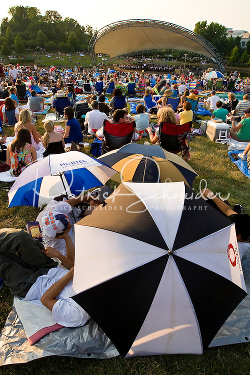 Hundreds of fans turn out for the Charlotte Symphony Summer Pops concert series during Summer 2008, at SouthPark Mall.