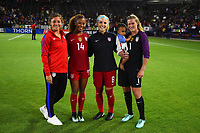 Carson, CA - Thursday August 03, 2017: Casey Short, Julie Ertz, Alyssa Naeher after the 2017 Tournament of Nations match between the women's national teams of the United States (USA) and Japan (JPN) at the StubHub Center.