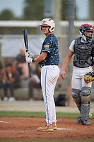 Andrew Bennett (28) during the WWBA World Championship at the Roger Dean Complex on October 11, 2019 in Jupiter, Florida.  Andrew Bennett attends Mt Paran Christian High School in Kennesaw, GA and is committed to Samford.  (Mike Janes/Four Seam Images)