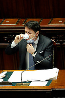 The Italian Premier Giuseppe Conte drinks a coffee wearing the face mask during the Question time at the Chamber of Deputies. Rome (Italy), July 1st 2020<br /> Foto Samantha Zucchi Insidefoto