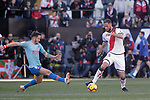 Atletico de Madrid's Saul Niguez  and Rayo Vallecano's Mario Suarez  during La Liga match. February 16,2019. (ALTERPHOTOS/Alconada)