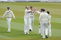 Surrey celebrate the dismissal of James Vince. Wicket taker Rikki Clarke, Surrey CCC during Surrey CCC vs Hampshire CCC, LV Insurance County Championship Group 2 Cricket at the Kia Oval on 1st May 2021
