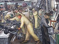 """USA Detroit Institut of Arts - Affresco  di Diego Rivera """"Detroit Industry"""" (commissionato da Edsel Ford e dal direttore del Museo William Valentiner al muralista messicano  1932-33"""