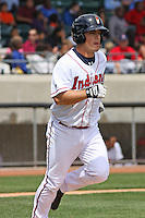 Adam Davis #6 of the Kinston Indians running to 1st base during a game against the Lynchburg Hillcats at Granger Stadium on April 28, 2010 in Kinston, NC. Photo by Robert Gurganus/Four Seam Images.