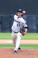 Wisconsin Timber Rattlers pitcher Dylan File (27) delivers a pitch during a Midwest League game against the Bowling Green Hot Rods on July 22, 2018 at Fox Cities Stadium in Appleton, Wisconsin. Bowling Green defeated Wisconsin 10-5. (Brad Krause/Four Seam Images)